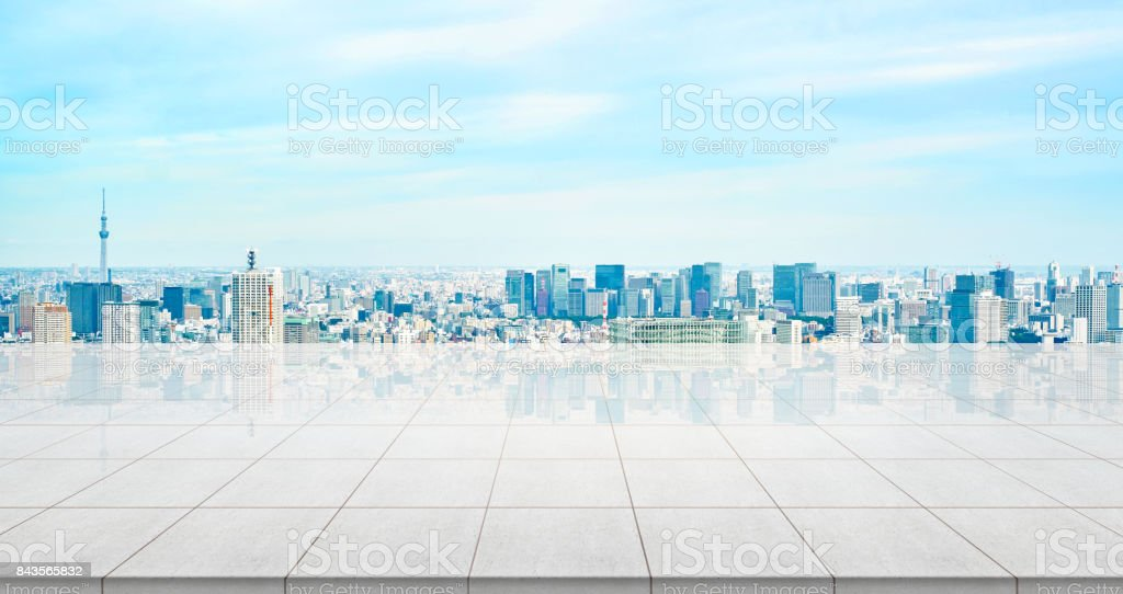 Business concept - Empty concrete floor top with panoramic modern...