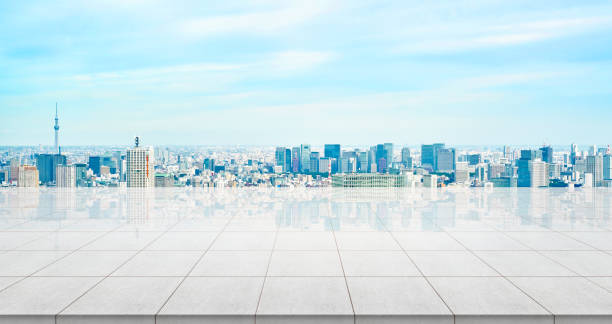 パノラマ表示やモンタージュ製品の日本近代都市景観コンクリート床を空 ストックフォト