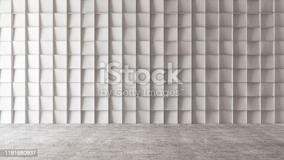 840777964istockphoto Empty Concrete Geometric Wall 1191680937