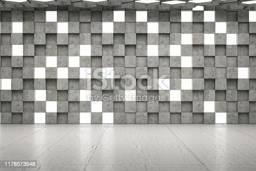 840777964istockphoto Empty Concrete Geometric Wall with Lights 1178573548