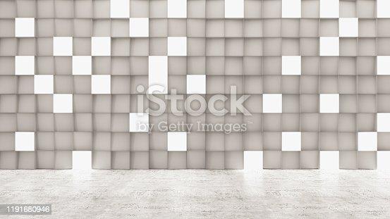 840777964istockphoto Empty Concrete Geometric Wall with Lights 1191680946
