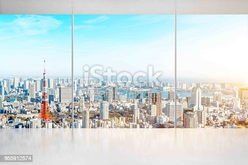 istock empty concrete ground and window with japan skyline for display or mock up 955912574