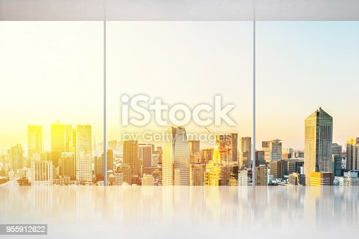 187035172 istock photo empty concrete ground and window with japan skyline for display or mock up 955912622