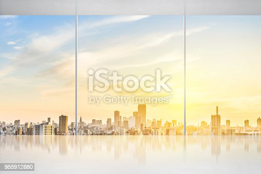 istock empty concrete ground and window with japan skyline for display or mock up 955912680