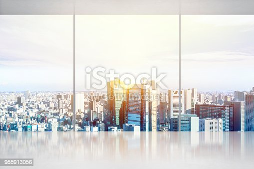 istock empty concrete ground and window with japan skyline for display or mock up 955913056