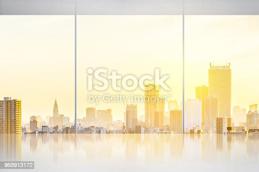 187035172 istock photo empty concrete ground and window with japan skyline for display or mock up 955913172