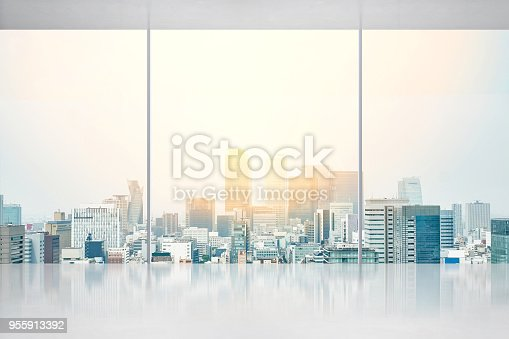 istock empty concrete ground and window with japan skyline for display or mock up 955913392