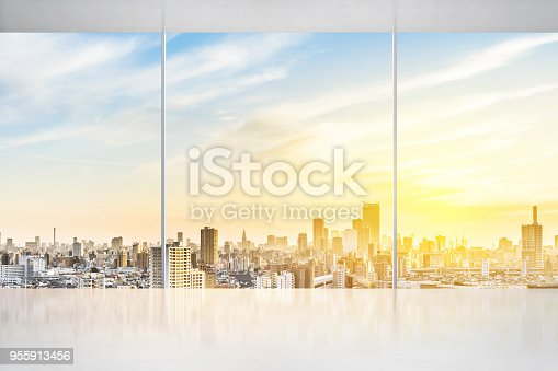 istock empty concrete ground and window with japan skyline for display or mock up 955913456