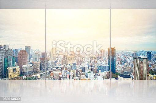 istock empty concrete ground and window with japan skyline for display or mock up 955913500