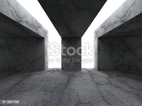 611897876istockphoto Empty concrete room. Dark stone textured wall. Architecture back 611897764