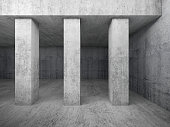 Empty concrete room interior with columns, 3d