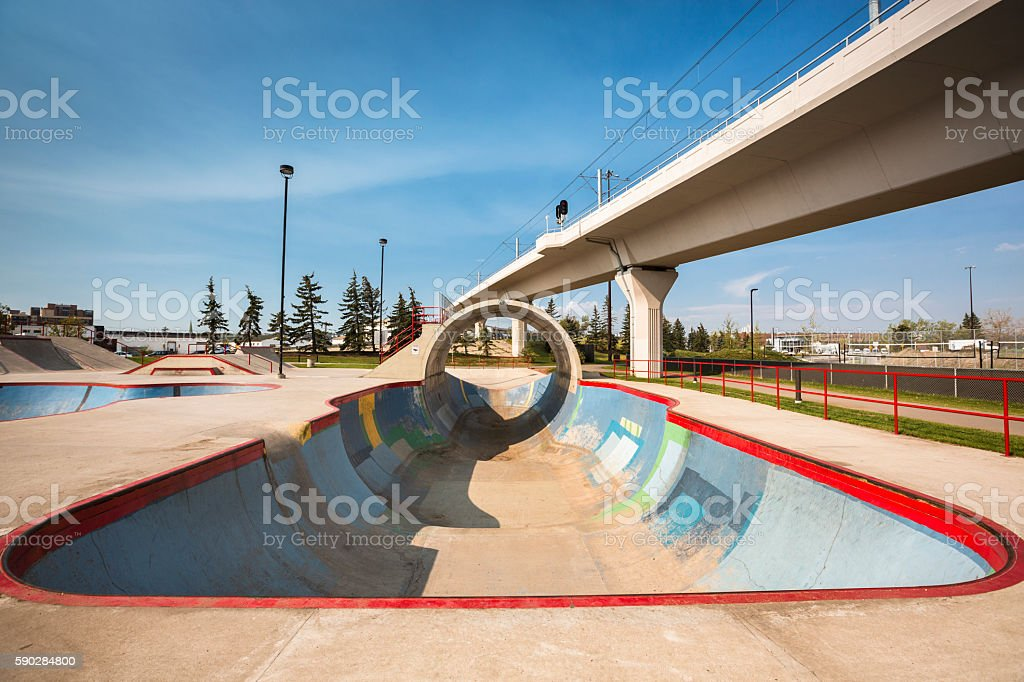 Empty concrete skatepark stock photo