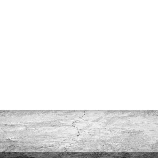 leere betontisch auf isolierte weiß und hintergrund. - zement terrasse stock-fotos und bilder