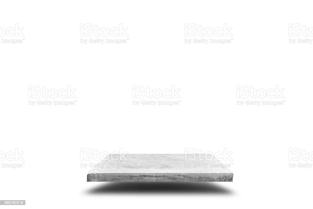 Empty concrete table on white background, Template mock up for display of your product. royalty-free stock photo