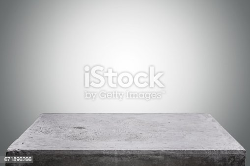 671896388istockphoto Empty concrete table top on concrete gradient background,  Template mock up for display of your product. 671896266
