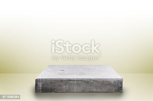 671896388istockphoto Empty concrete table top on concrete gradient background,  Template mock up for display of your product. 671896384