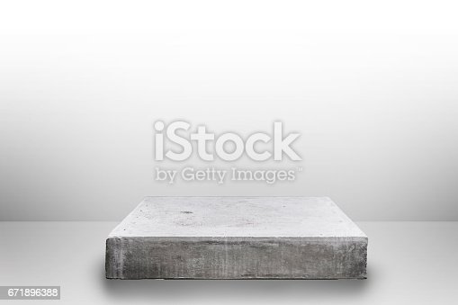istock Empty concrete table top on concrete gradient background,  Template mock up for display of your product. 671896388