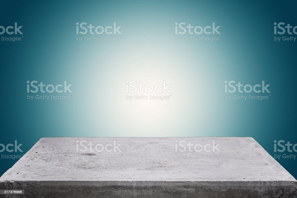 Empty concrete table top on gradient background stock photo