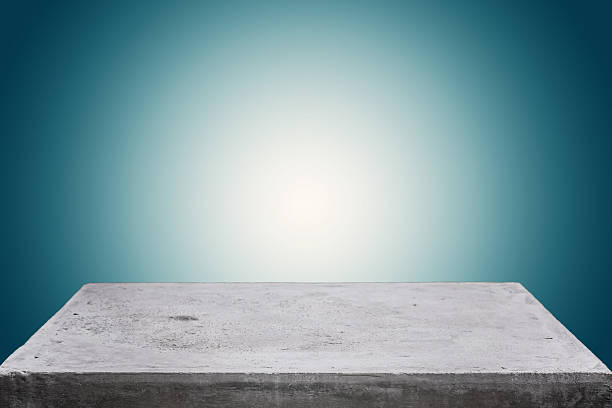 Empty concrete table top on gradient background stock photo