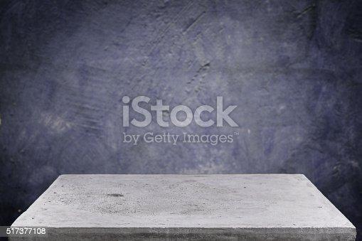 671896388istockphoto Empty concrete table top on grunge concrete background 517377108