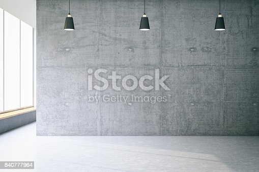 Empty concrete room wall. 3D Render