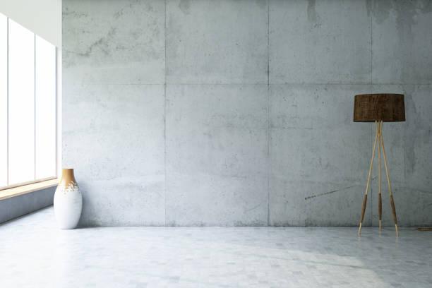 leere betonwand - betonboden wohnzimmer stock-fotos und bilder