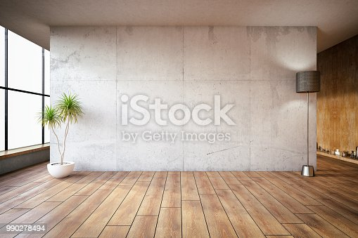 Empty abstract concrete room wall. 3D Render