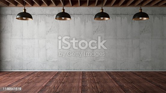840777964istockphoto Empty Concrete Wall with Lights 1146541519