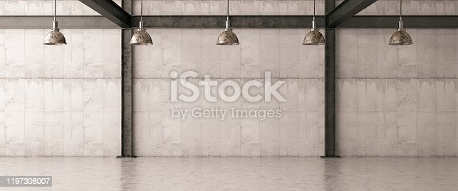 Empty Concrete Wall with Lights. 3d Render