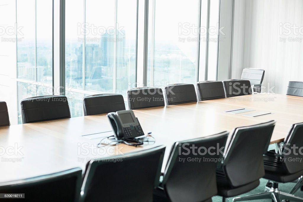 Empty conference room with telephone stock photo