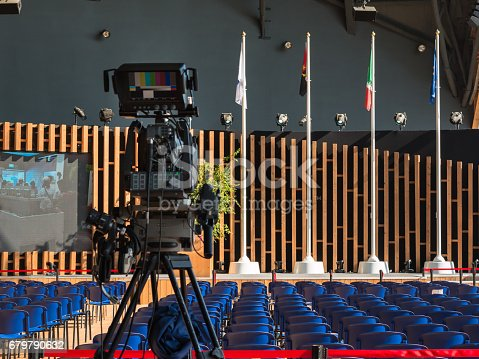 821463698istockphoto Empty Conference Room with Television Camera Ready for Audience 679790632