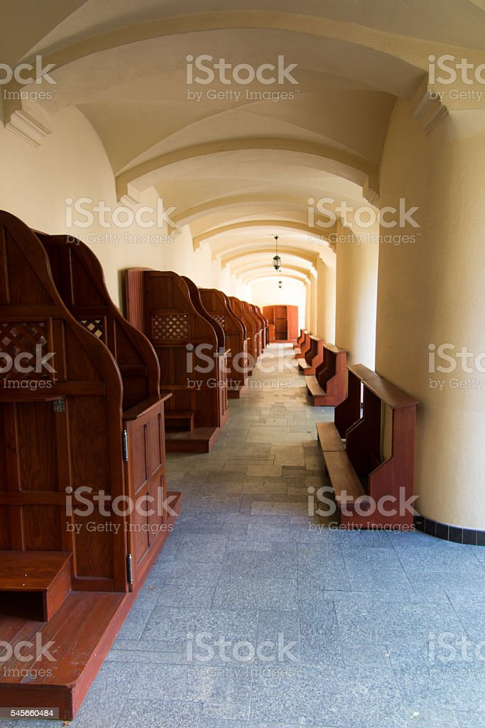 Empty confessionals, a place of repentance and conversion. Inter stock photo
