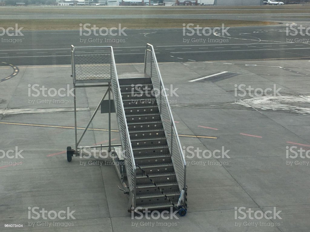 Empty connection staircase at an airport - Royalty-free Aboard Stock Photo