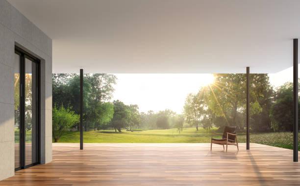 Leere moderne Terrasse mit Gartenblick 3d render – Foto