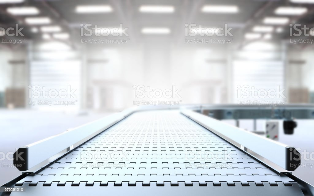 Empty conveyor belt stock photo
