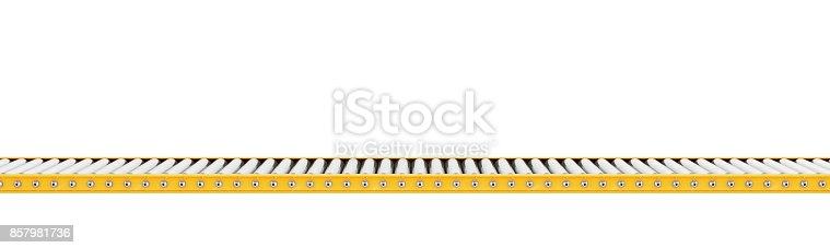 istock Empty conveyor line isolated on a white 857981736