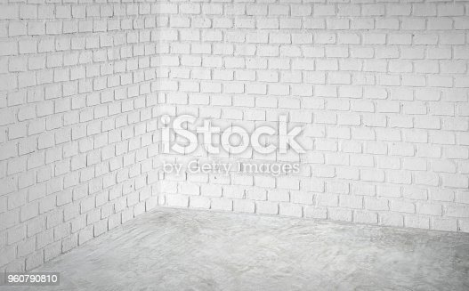 Empty corner white modern brick wall and grey concrete floor perspective room,Modern style room,Mock up for display of product,business presentation.