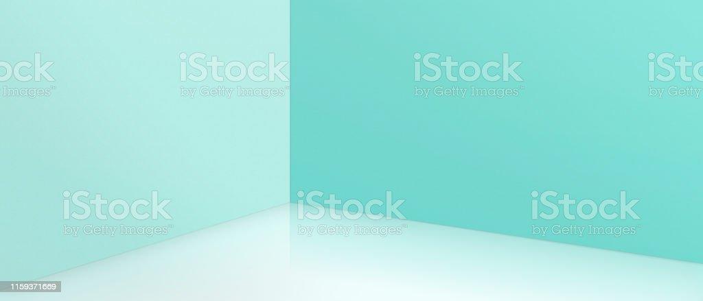 Empty corner with blue walls and floor. Empty room studio gradient...