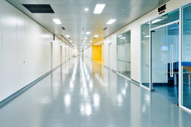 Empty corridor in a hospital stock photo
