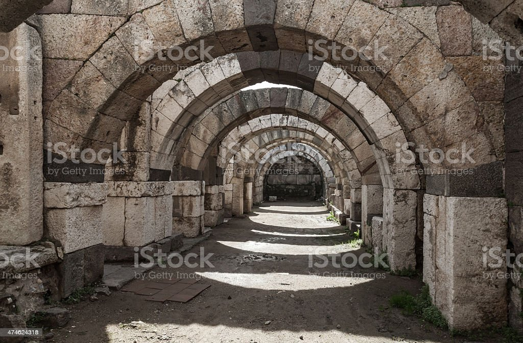 Empty corridor with arcs and columns, Izmir stock photo