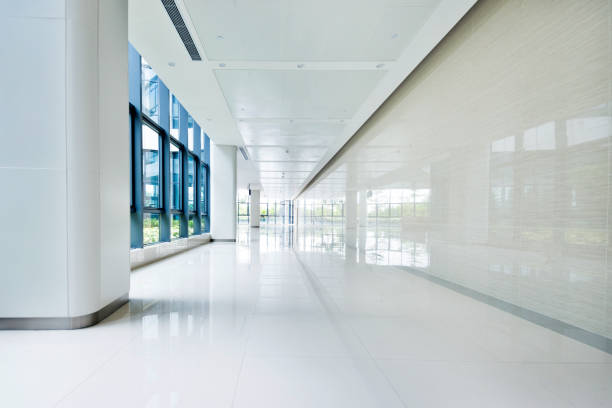 Empty corridor with glass window stock photo