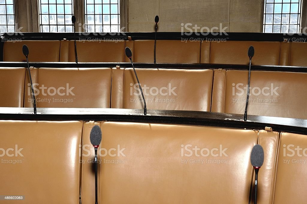 Empty council chamber stock photo