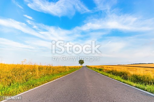 1155573645istockphoto Empty countryside road at sunset. Czech rural landscape. 1164792741