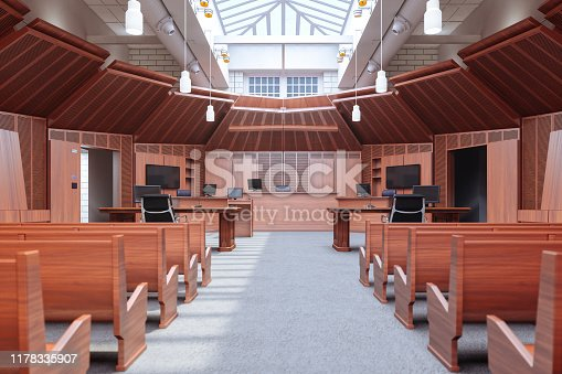 Interior of an empty modern large courtroom.