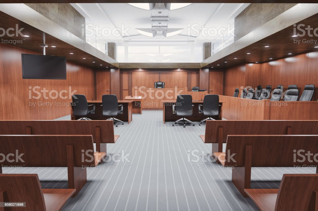 Empty Courtroom stock photo