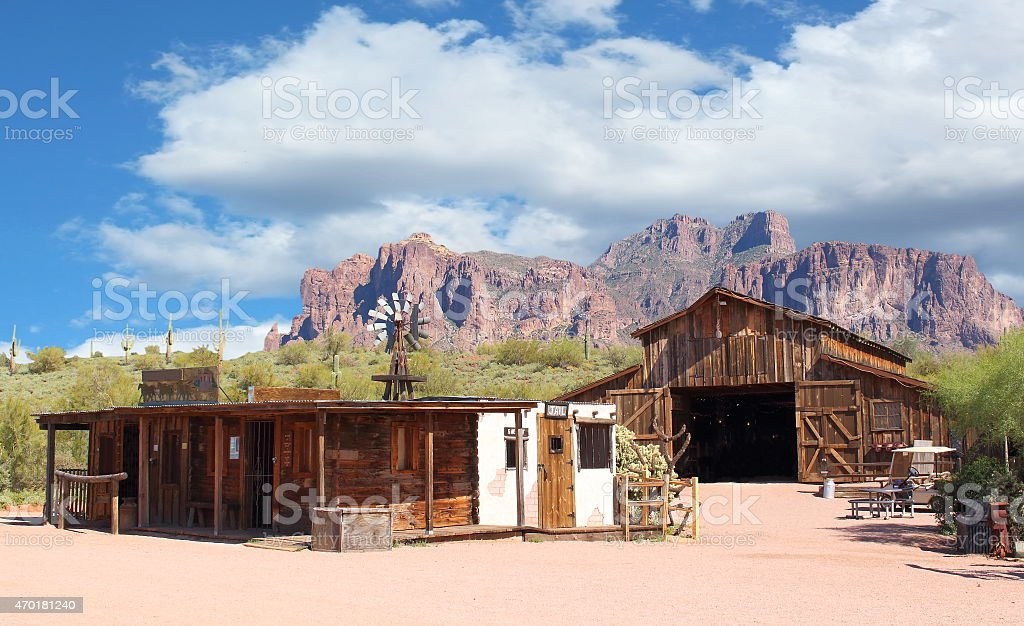 Empty cowboy town with wooden houses stock photo