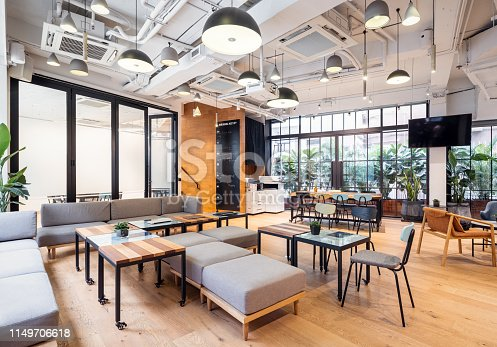 Empty coworking space in Hong Kong.