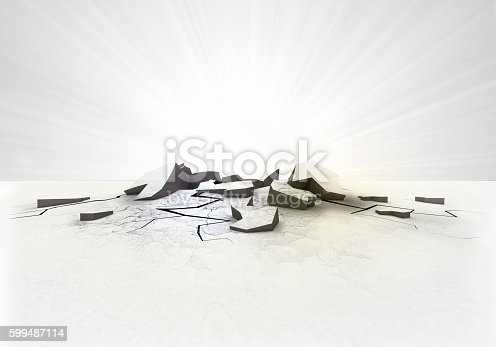 istock empty cracked ground hole with flare on white 599487114