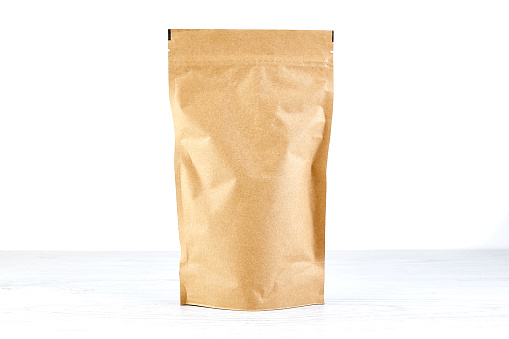empty craft paper coffee package