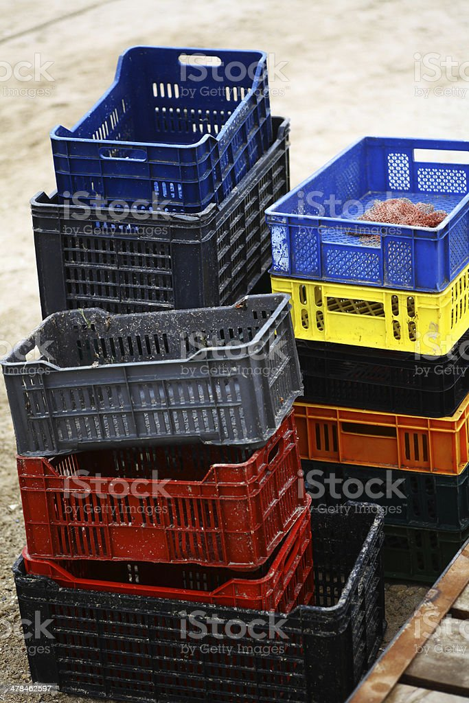 Empty crates stock photo